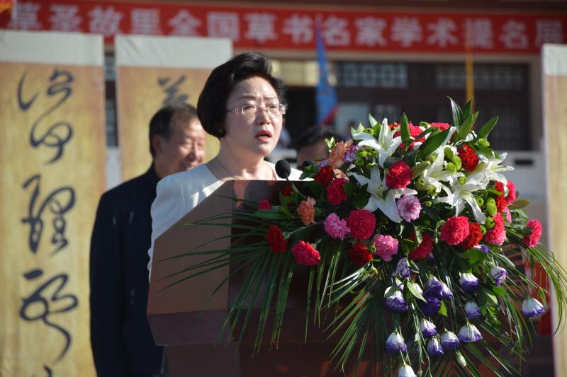 图为市委常委,宣传部长杨小丽讲话